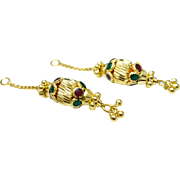 Vintage 20k Yellow Gold Enamel Earring Enhancers