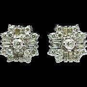 Vintage Round & Baguette Cut Diamond Stud Earrings 1.49ctw 14k White Gold