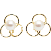 Vintage Yellow Gold Pearl Stud Flower Loop Clover Earrings Unique Gold Studs Dainty Earrings
