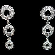 Vintage .26cttw Diamond Dangle Earrings in 10k White Gold