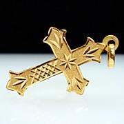 14k Yellow Gold Fleury Cross Pendant