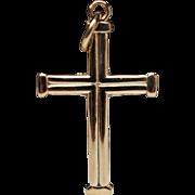 Vintage 14k Gold Cross Pendant Inscribed Jerusalem Christian Jewelry
