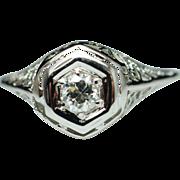Vintage Art Deco Period Diamond Engagement Ring Cocktail Ring  14k White Gold