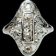 Vintage Art Deco .90ctw Diamond Cocktail Ring Engagement Ring 18k White Gold - Size 6