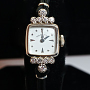 Vintage Women's 14k White Gold & Diamond Hamilton Watch