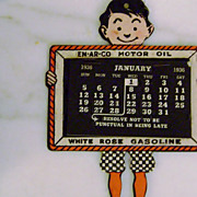 Vintage En-Ar-Co Motor Oil White Rose Gasoline Calendar