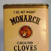 Vintage Monarch Cardboard Spice Tin