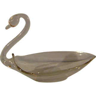 Clear Glass Swan Dish
