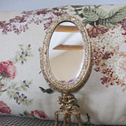 Ornate Metal Doll House Floor Mirror with Angels At Base