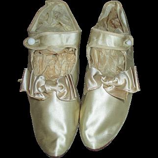 Authentic 1920's Cream Satin Flapper Heels - Gorgeous Shoes
