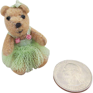 """Tiny 2"""" Bear for Your Bisque Head Doll or Doll House"""