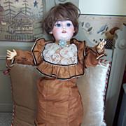 "26"" Simon Halbig 1079 in Amazing Brown Antique Silk Dress"