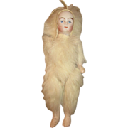 Tiny Fur Covered Bisque Doll