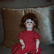 """Darling 17"""" Nippon Bisque Head Doll w/Auburn Mohair Wig"""