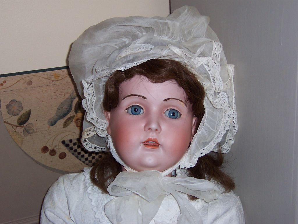 """Antique 32"""" Bisque Head Kestner 196 w/Fur Brows and Lovely Expression"""