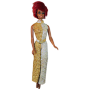 1969 Mattel Julia Doll in Silver & Gold Lame Outfit