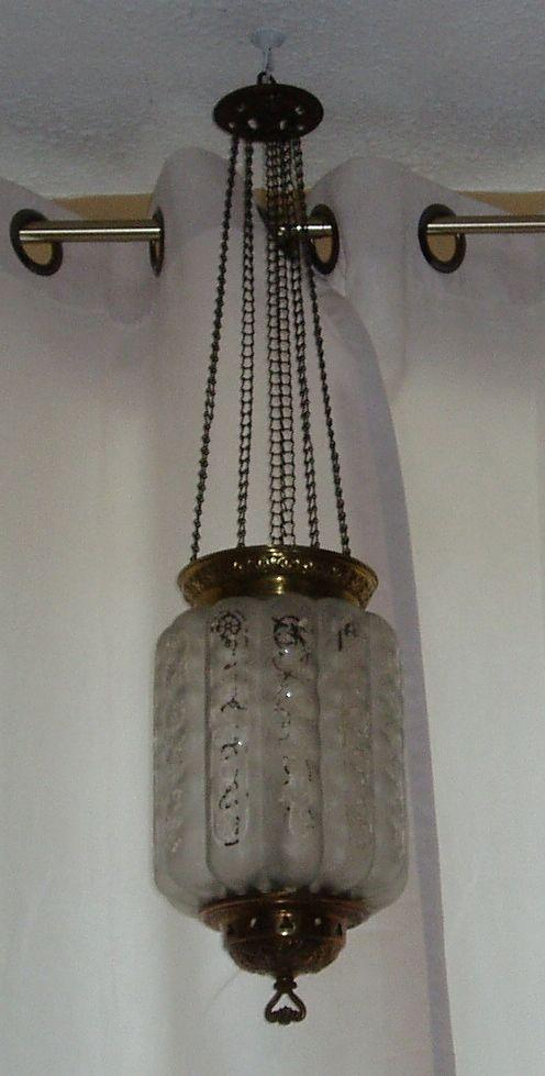 Antique satin over clear glass hanging oil kerosene hall lamp