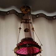 """Antique 14"""" oil kerosene ruby hobnail glass shade hanging lamp"""