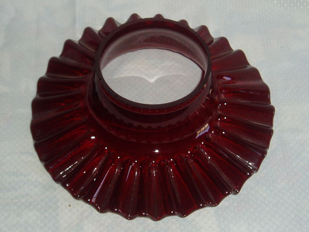 Beautiful deep red flat ruffled chimney shade for oil/ kerosene lamp