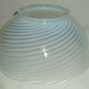 """White blue opalescence 10"""" glass shade."""