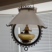 Antique slant shade hanging oil lamp