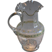 Hand Painted Enameled Glass Pitcher w/Ruffled Rim