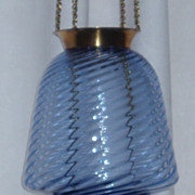 Antique blue glass swirl hanging oil hall lamp