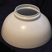 "14"" Blown White Glass Library Lamp Shade"