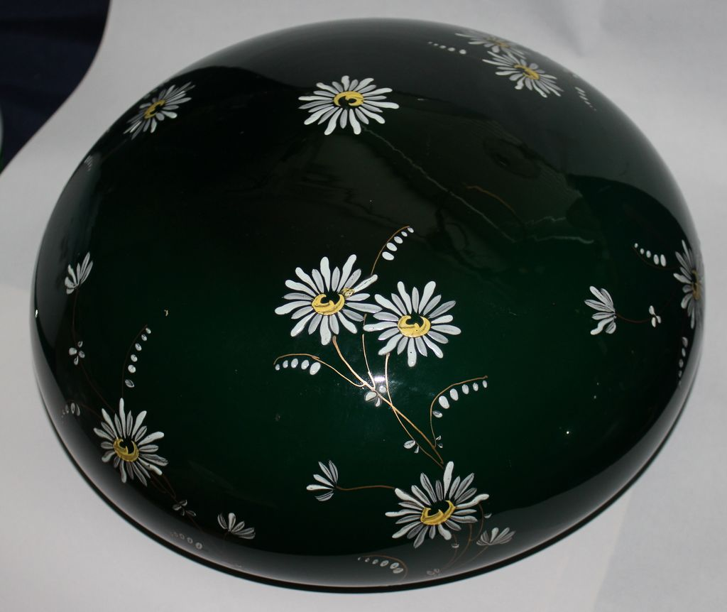 "Green hand painted 10""lamp shade"