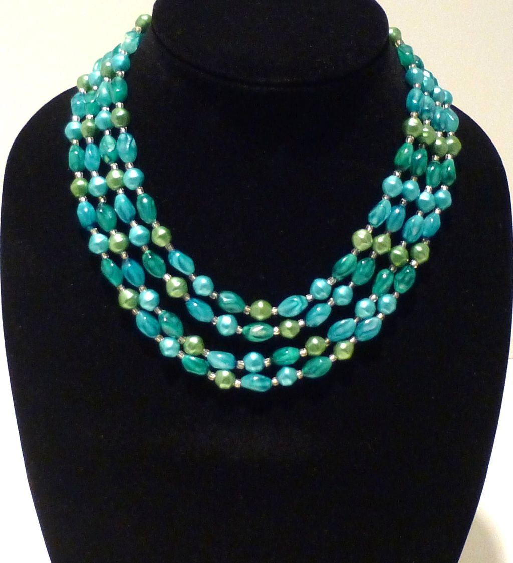 Vintage Hong Kong Lucite Four-Strand Necklace in Teal and Aquamarine