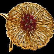 Elegant Poppy Brooch with Raspberry Glass and Rhinestones