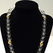 Marie Storms Crystal Bead and Gold Plate Necklace