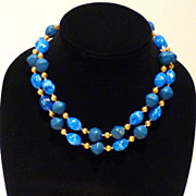 Double-Strand Vintage Cobalt Blue Necklace