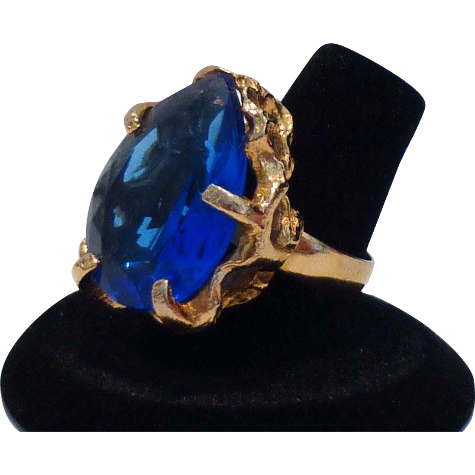 Stunning Peacock Blue Cocktail Ring