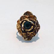 Antiqued-Style Unique Vintage Rose Cocktail Ring