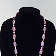 1970s Lavender Bead Necklace with Gold-Tone Balls