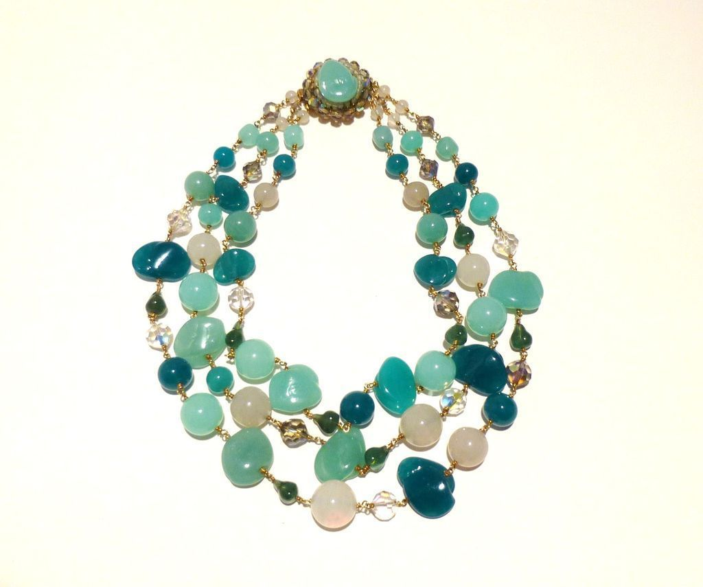 Outstanding Three-Strand Vintage Murano Glass and Austrian Crystal Necklace