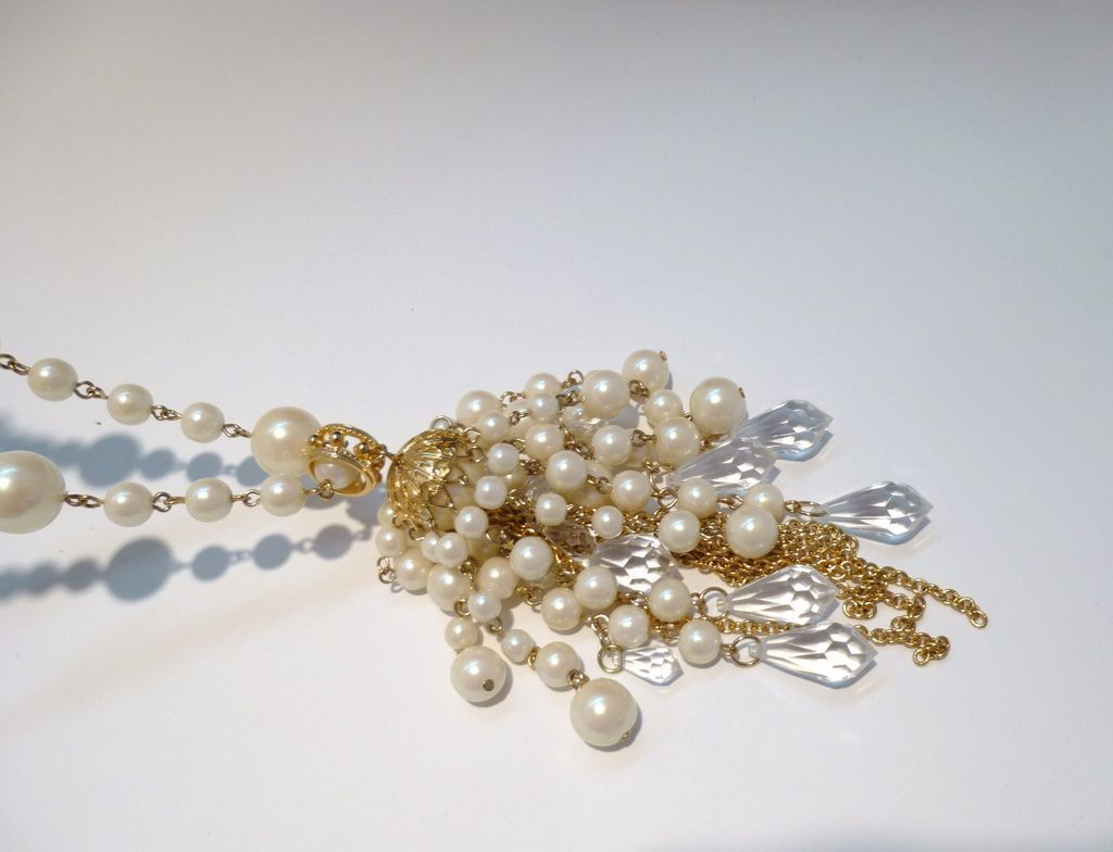 Faux Pearl Sautoir with Gold-Tone Filigree and Acrylic Tassels