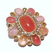 Lovely Vintage Brooch / Pendant with Pastel Acrylic and Rhinestones
