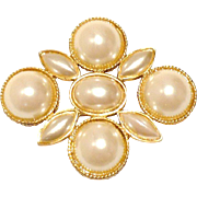 Vintage Dauplaise Stylized Cross Brooch with Faux Pearl