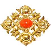Faux Coral and Gold-Tone Cross Brooch