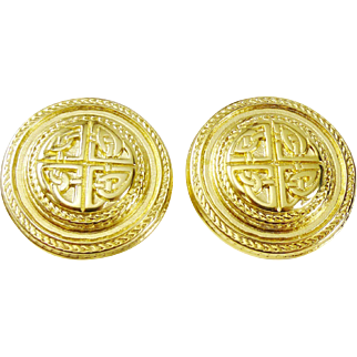 Classic Givenchy Button Earrings with Celtic Knot