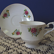 Teacup and Saucer, Staffordshire England, bone china, Pink Roses