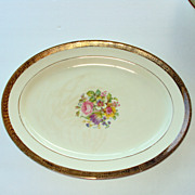 13.25 by10 inch Platter, 22kt gold rim and floral center, Stetson China, USA