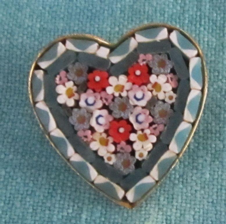 Lovely Vintage Micro Mosaic Heart Shape Pin