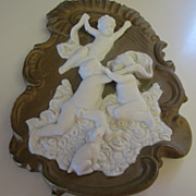 Darling Vintage Bisque Plaque with Children and Dog