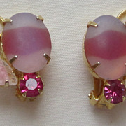 Charming Vintage Gold Tone and Colored Glass Clip On Earrings
