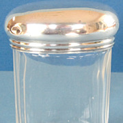 Antique Sterling Silver and Glass Oval Vanity Jar