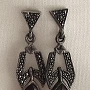 Lovely Vintage Sterling Silver, Marcasite and Red Garnet Dangle Pierced Earrings