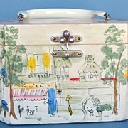 Hand Painted Vintage Wood Handbag-Saks Fifth Avenue